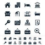 Ícones dos bens imobiliários Fotografia de Stock