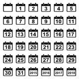 Ícones dos dias de calendário ajustados Fotos de Stock