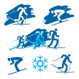 Ícones dos esquiadores Imagens de Stock