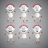 Ícones dos homens feitos do papel e dos fósforos de segurança ajustados Imagem de Stock