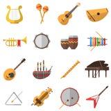 Ícones dos instrumentos musicais ajustados Foto de Stock
