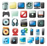 Ícones dos multimédios Imagens de Stock