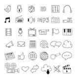 Ícones dos multimédios da Web ajustados - ilustração do vetor Fotografia de Stock Royalty Free