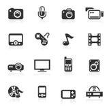 Ícones dos multimédios - série do minimo Imagens de Stock Royalty Free