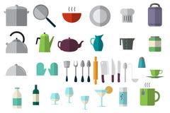Ícones dos pratos ajustados Fotografia de Stock