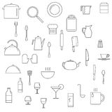 Ícones dos pratos ajustados Foto de Stock