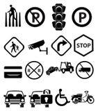 Ícones dos sinais de tráfego ajustados Fotografia de Stock Royalty Free
