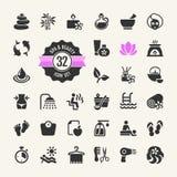 Ícones dos termas & da beleza ajustados Imagens de Stock Royalty Free