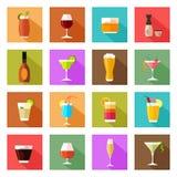 Ícones dos vidros da bebida do álcool Imagens de Stock Royalty Free