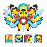 Ícones e composição interessantes com um ladybug Imagens de Stock