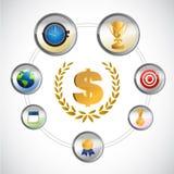 ícones e concessões relacionados do esporte Foto de Stock Royalty Free
