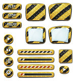 Ícones e elementos de advertência para o jogo de Ui Foto de Stock Royalty Free
