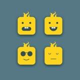 Ícones engraçados abstratos das caras ajustados Foto de Stock