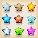 Ícones engraçados das estrelas para o jogo Ui Fotografia de Stock
