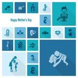 Ícones felizes do dia de mães Fotografia de Stock Royalty Free