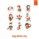 Ícones felizes do dia de mães Foto de Stock