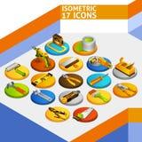 Ícones isométricos das ferramentas Fotografia de Stock Royalty Free