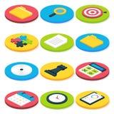 Ícones isométricos lisos do negócio do círculo ajustados Fotografia de Stock Royalty Free