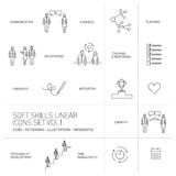 Ícones lineares e pictograma das habilidades macias ajustados Imagens de Stock