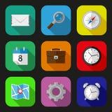 Ícones lisos ajustados Imagem de Stock