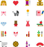 Ícones lisos coloridos FEMININOS Imagem de Stock
