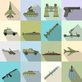 16 ícones lisos da arma ajustados Imagem de Stock