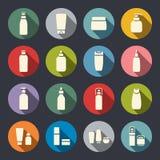 Ícones lisos da garrafa cosmética Fotografia de Stock