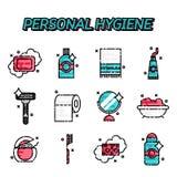 Ícones lisos da higiene pessoal ajustados Fotos de Stock