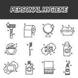 Ícones lisos da higiene pessoal ajustados Imagem de Stock