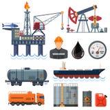 Ícones lisos da indústria petroleira ajustados Fotografia de Stock Royalty Free