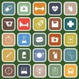 Ícones lisos da saúde no fundo verde Fotos de Stock Royalty Free
