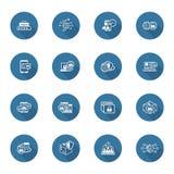 Ícones lisos da segurança e da proteção do projeto ajustados Imagem de Stock Royalty Free