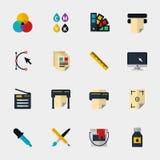 Ícones lisos de Polygraphy Fotos de Stock