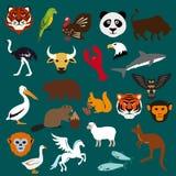 Ícones lisos do animal e do pássaro Imagem de Stock