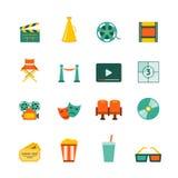Ícones lisos do cinema ajustados Foto de Stock