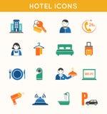 Ícones lisos do curso do hotel ajustados Foto de Stock Royalty Free