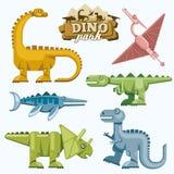 Ícones lisos do dinossauro e dos animais pré-históricos ajustados Fotografia de Stock