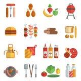 Ícones lisos do partido do BBQ ajustados Foto de Stock