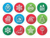 Ícones lisos do projeto do Natal - árvore do Xmas, anjo, floco de neve Imagem de Stock