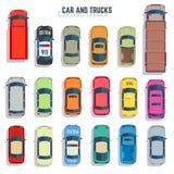 Ícones lisos do vetor da opinião superior dos carros e dos caminhões ajustados Fotos de Stock Royalty Free