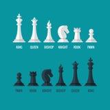 Ícones lisos do vetor do penhor da gralha do cavaleiro do bispo de rainha do rei das partes de xadrez ajustados Fotos de Stock Royalty Free