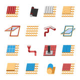 Ícones lisos dos elementos da construção do telhado ajustados Imagens de Stock Royalty Free