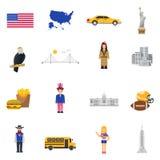 Ícones lisos dos EUA dos símbolos da cultura ajustados Fotografia de Stock Royalty Free