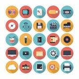 Ícones lisos dos multimédios ajustados Fotografia de Stock Royalty Free