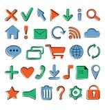 Ícones lisos para o design web Fotografia de Stock Royalty Free