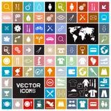 Ícones lisos quadrados ajustados Imagem de Stock Royalty Free