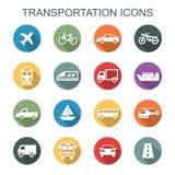 Ícones longos da sombra do transporte Foto de Stock