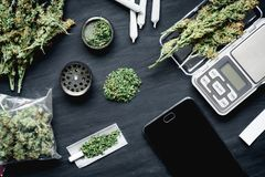 Cones of marijuana flowers on scales, grinder and shredded cannabis joint and a packet of weed and Smartphone on a black wood back. Marijuana, scales, jambs and royalty free stock photography