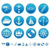 Ícones marinhos Fotografia de Stock