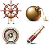 Ícones marinhos do curso do vetor. Parte 3 Fotos de Stock
